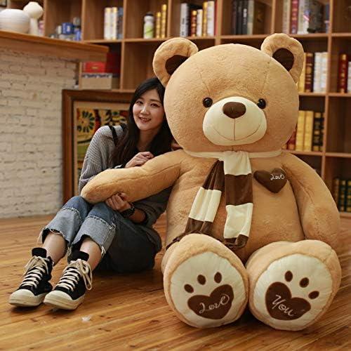 Ysldtty Plus La Taille Semi-Fini Nounours en Peau d'ours Doux Coeur Américain Géant Manteau d'ours en Peluche Ours Bcourir DIY Enfants Jouets Cadeau d'anniversaire Jaune 180 Cm