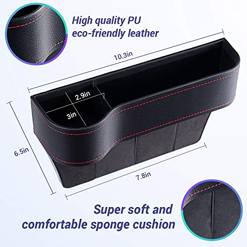Meidong Car Seat Gap Organizer, Storage Box, Console Side Pocket Storage Couple 2Pack for Cellphones/Keys/Cards/Wallets/Sunglasses