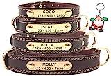 SLZZ Collar para Perro de Cuero Personalizable, Placa de identificación para Grabar, Tacto Suave de Piel auténtica, Ajustable, Perros pequeños, medianos y Grandes