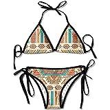 alice-shop Impresionante Manta Mexicana Rayas Bikini Bikini de Verano para Mujer Top Triangular Bikinis Traje de baño Conjunto de 2 Piezas Sexy