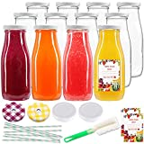 12pcs 12oz Glass Juice Bottles, Reusable Glass Milk Bottles with Lids, Clear Containers for Juicing,...