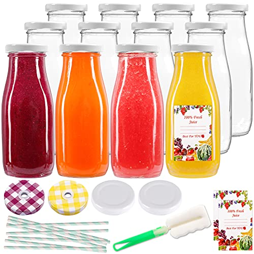 12pcs 12oz Glass Juice Bottles, Reusable Glass Milk Bottles with Lids, Clear Containers for Juicing, Smoothies, Drinking and Other Beverages