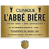 Les Trésors De Lily [R1431 - Plaque Professionnelle Humoristique métal 'Abbé Biére' doré - 33x22 cm