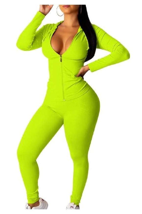 繁雑小切手どこにもTootess Women's Autumn Zip-up Casual Hood Jersey Jacket Sweatpants Set