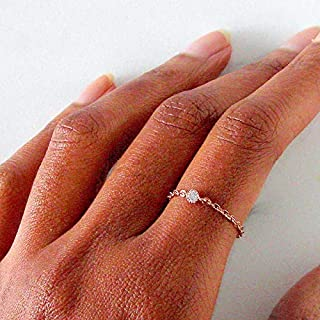 Chain Ring in 14k Rose Gold Filled with Cubic Zirconia Diamond, Size 8