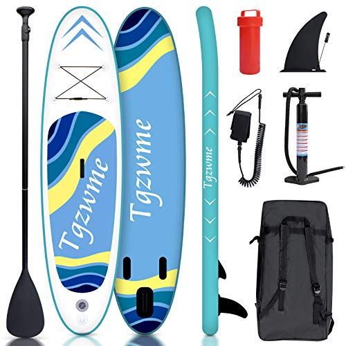 Tgzwme 10'×30'×6' Inflatable Stand Up Paddle Board with Adjustable Paddle,3...