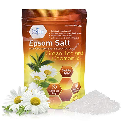 Medpride Epsom Bath Salts Soak For Pain Relief With Green Tea & Chamomile - Relaxing Foot Bath Salts For Soothing, Muscle Recovery & Relaxation - Pure Moisturizing Soaking Salts For Men & Women 19.2oz