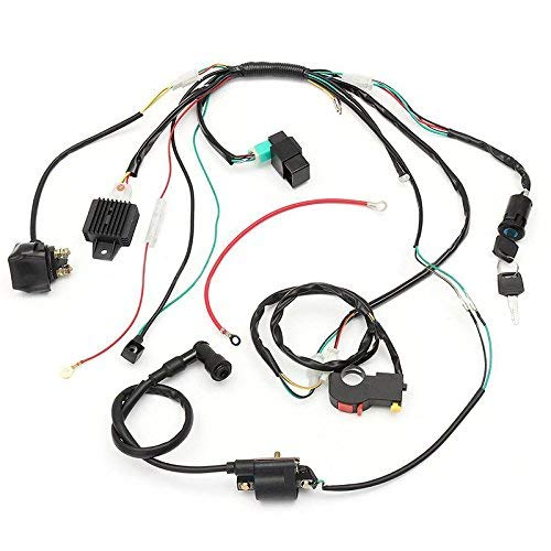 jikan complete electric start engine wiring harness cdi coil wiring loom  50cc 110cc 125cc atv buggy