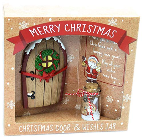CAROUSEL Frohe Weihnachten Miniatur-Feen-Elfentür und Wunschliste, Wunschglas ~ Braun