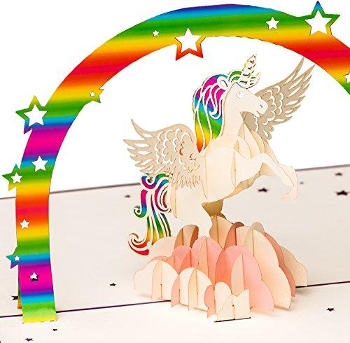 Geburtstagskarte, Einhorn mit Regenbogen auf rosa Wolke, Unicorn, süße XXL 3D-Pop-Up-Karte,...