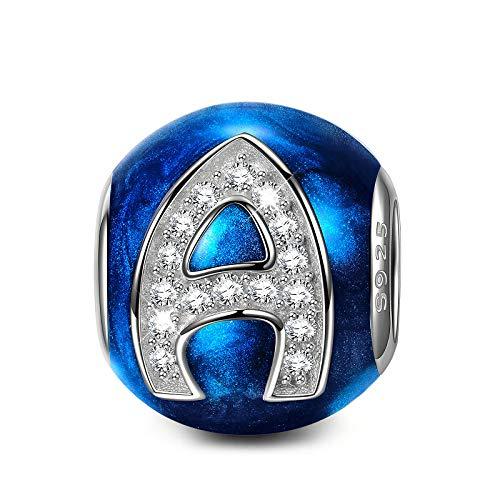 NINAQUEEN Charm para Pandora Charms Originales Plata 925 Letra A Azul Colgantes Regalos Mujer Zirconia Esmalte Abalorios Compatible con Pulsera Pandora & Europeo, con Caja de Regalo