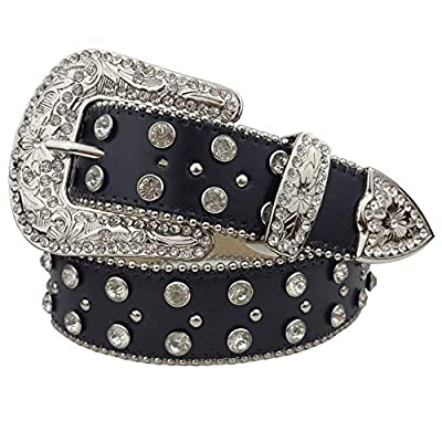 Western Crystals Cross and Studs Rhinestone Belt in Black S/M