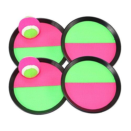 Toyvian Klettballspiel mit Klettball Fangscheiben Ballspiel Wurfspiel für Kinder Erwachsene 2 Stück (Zufällige Farbe)