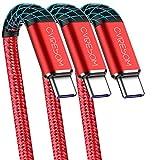 USB Type C ケーブル【1m 3本】 CABEPOW USB2.0 タイプc ケーブル 1m標準仕様 急速充電 高速データ転送同期 Xperia XZ/XZ2, Galaxy S9/S8/A3/A7/A9/C5/7pro/C9, Nexus 5X/6P, GoPro Hero 5/6 タイプC全機種対応 18ヶ月保証付き【1m3本 赤】
