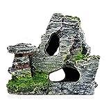WYPDE Vista de montaña Rockery Aquarium Rock Cave Tree Puente Adorno de Tanque Decoración