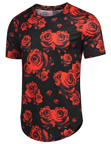 COOFANDY Mens Hipster Hip Hop Ripped Round Hemline Rose Floral T-Shirt Longline Curve Pattern Print T Shirt
