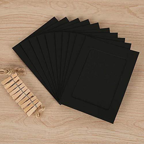 10 stks Combinatie Papier fotolijst met Clips en 2 m Touw 6/7 inch Foto Wandopknoping Picture DIY Home Decoratie Fotoalbum 7 inch Zwart