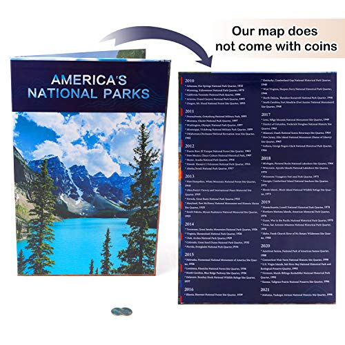 National Parks Quarter Coin Collection Book Folder Map Children Birthday Educational Gift Keepsake for Collectors, Him or Her (No Coin) (02)