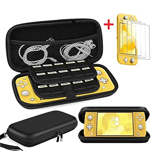 Cmore Nintendo Switch Lite Carrying Case with [3 Packs] Screen Protectors/19 Game Card Holders, Protective Travel Case Bag-Black