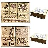 15 piezas de sello de goma de madera/hojas de sello para álbum de fotos decorativo, conju...