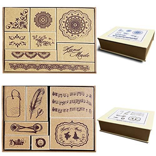 """15 piezas de sello de goma de madera/hojas de sello para álbum de fotos decorativo, conjunto de sellos de bloc de notas de diario de bricolaje Patrones, 2 cajas, patrón""""hand made"""""""