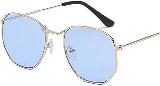 FJCY - Gafas de Sol de aviación con Lentes Planas hexagonales para Hombre, Nuevas Gafas de Sol de conducción con Espejo Rosa y Retro para mujer-Xyy706-C1