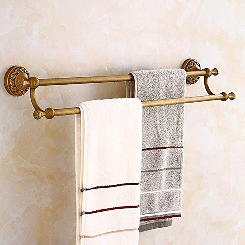 Wtbew-u Toallero para baño, toallero, barra de toalla de cobre, barra de toalla de mano, toallero, barra de toallero, barra doble para baño, cocina, vestíbulo de 60.5 13.5 cm