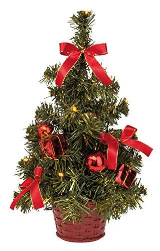 Idena 8582154 - Deko Tannenbaum mit 10 LED warmweiß, mit 6 Stunden Timer Funktion, batteriebetrieben, ca. 35 cm hoch, für die Weihnachts- und Adventszeit