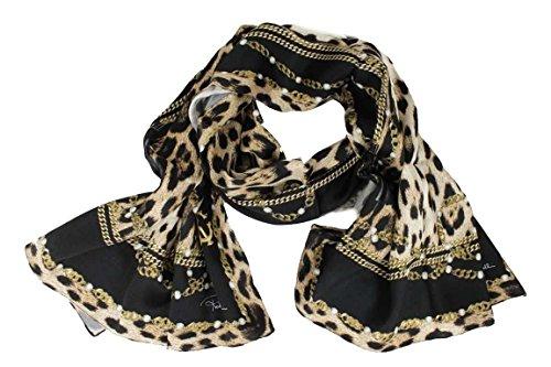 Roberto Cavalli Damen Schal Scarf im Geschenkbox Made in Italy 2b710 schwarz