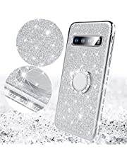 Saceebe Compatible con Galaxy S10 Funda Silicone TPU Brillo Glitter Estuche de silicona Diamante Carcasa de TPU Brillante Soporte redondo TPU Cover Protectora Suave [Anti-Scratch],plata