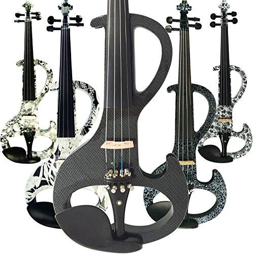 Leeche - Violín eléctrico profesional de madera maciza de tamaño completo 4/4, para principiantes, kit de cuerdas de violín, hombro, rosina, hecho a mano, DSZA-1311