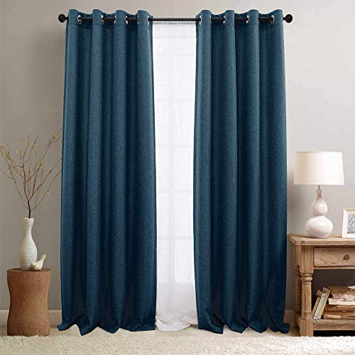 jinchan Textured Linen Curtain Panels Bedroom Drapes Living Room Thermal Insulated Room Darkening Window Treatment Set, Grommet Top (2 Panels, L95-Inch, Denim Blue)