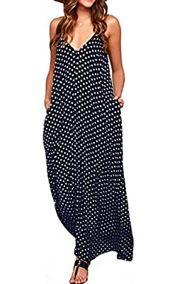 LILBETTER Women Boho Backless Long Maxi Evening Party Dress Beach Sundress (Navy Blue,Medium)