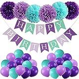 tarumedo Decoración de cumpleaños con forma de sirena, lila, decoración de cumpleaños para niñas, color morado oscuro, juego de decoración de cumpleaños, guirnalda de papel, 6 pompones, 26 globos