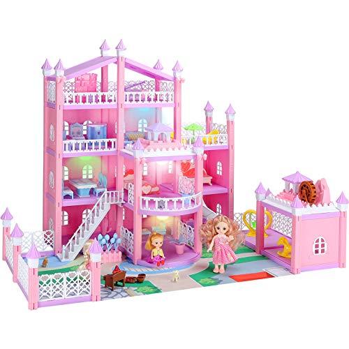 KAINSY Puppenhaus, 4 Tier Holiday House Möbeln und Zubehör Puppenhaus and Puppenhaus Zubehör and DREI Doll, 3D Großes Puppenhaus einschließen Wohnzimmer,Schlafzimmer,Küche,Bad,Garten