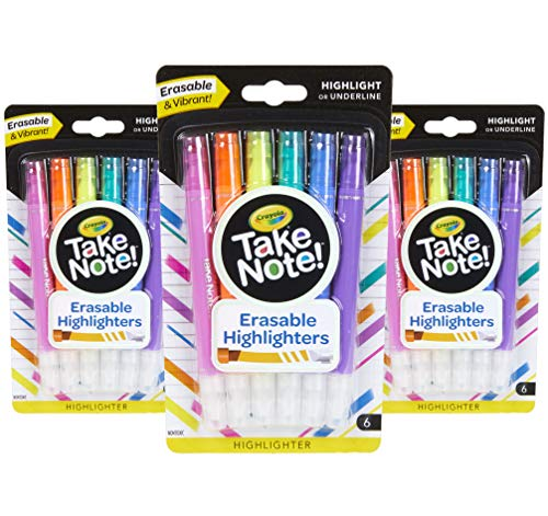 Crayola Take Note Erasable Highlighters Markers, School Supplies, Kids At Home Activities, 18 Count