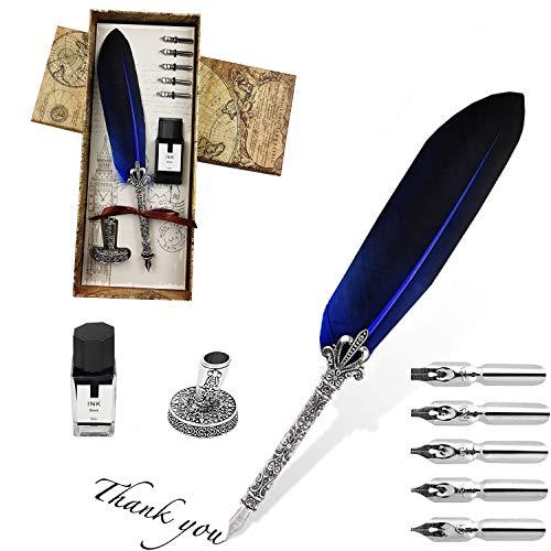 Federstift, Vintage Dip Pen, englischer Kalligraphiestift-Füllfederhalter Schreibmappe mit 5 Federn und schwarzer Tinte, Perfekt für Kalligraphie Anfänger (Blau)