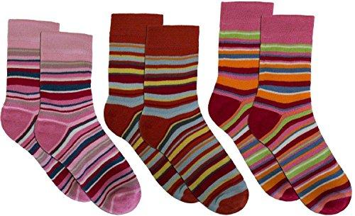 normani 3 Paar Sehr warme Kinder Thermo Kniestrümpfe mit Ringel Design Farbe Mädchen/Ringel/Socken Größe 35-38
