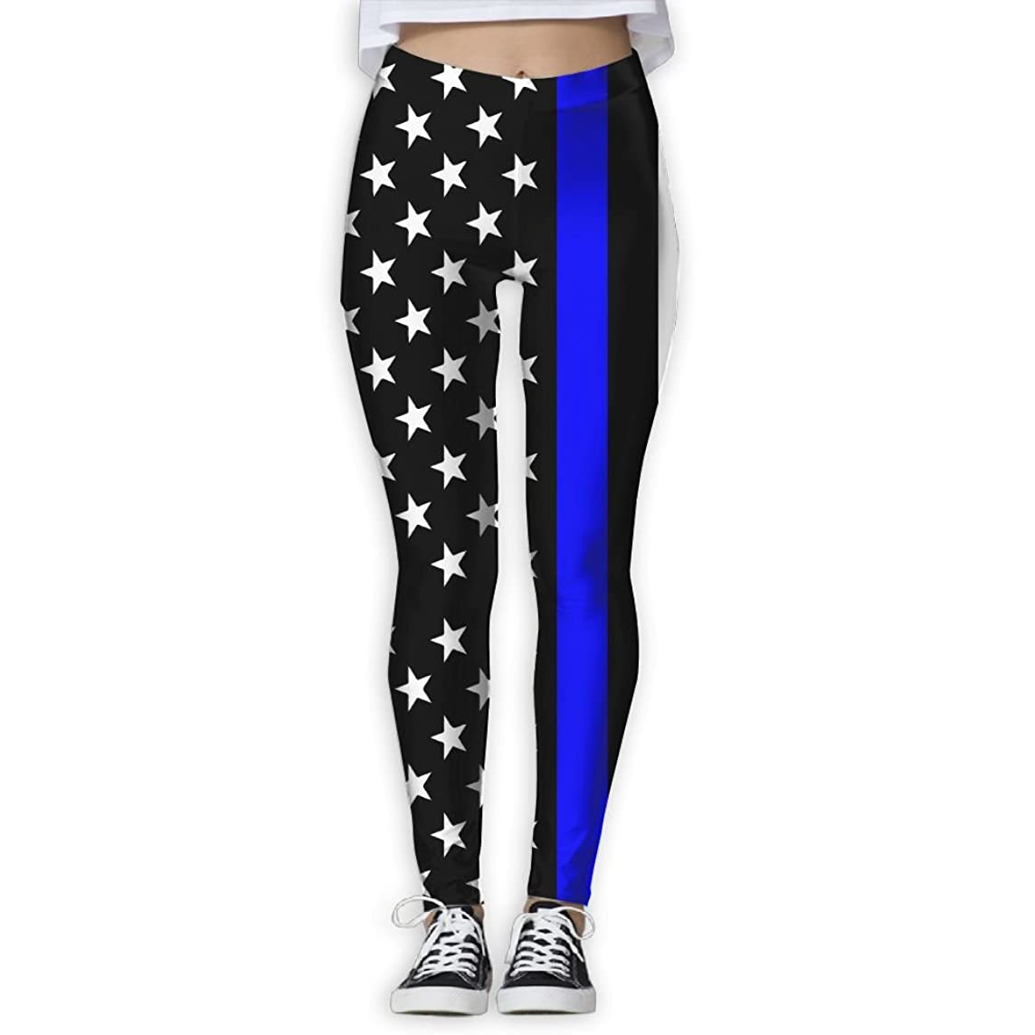LanFong Women's Yoga Pants Blue Shark Squeen Power Flex Full Length Capris Leggings