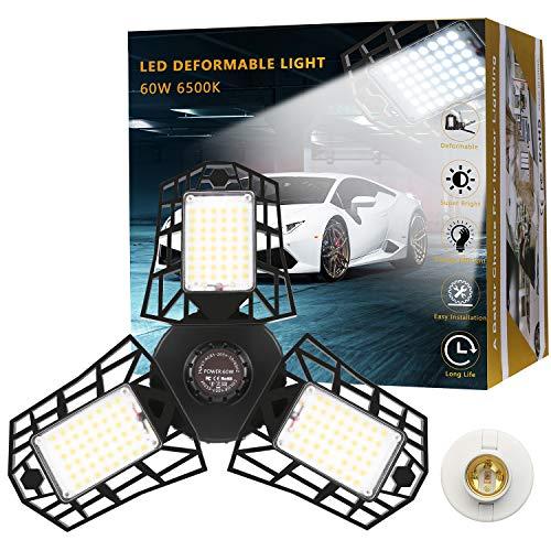Garage Lights 60W 6000lm LED Garage Light Deformable Trilights Garage Ceiling Light LED Adjustable Light Garage Lighting Garage Light Bulb for Garage, Working Light Premium
