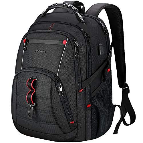KROSER Laptop Rucksack Herren Schulrucksack für 17 Zoll(43cm)Laptop Daypack Multifunktion Business Notebook Taschen Wasserdicht Großer mit RFID-Taschen für Arbeit/Reisen/Männer/Jungen-Schwarz MEHRWEG