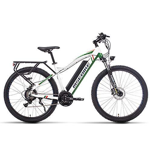XXCY Bicicletta elettrica da Città, Batteria al Litio Rimovibile da 27,5'48V 13ah Bicicletta elettrica da Montagna Shimano 21 velocità (Verde)