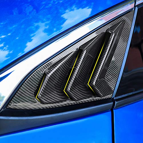 2X Sport Style Carbon Fiber Print Quarter Window Scoops Louvers for Honda Civic Sedan 2016 2017 2018 2019 2020