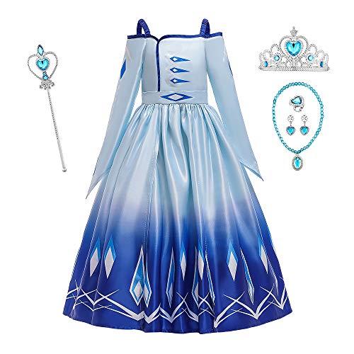 O.AMBW Disfraz de Princesa Azul Celebracin Vestido Violeta Reina Anna Cuello Abierto Manga Larga Cosplay Carnaval Disfraz de Halloween con Accesorios para nias
