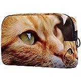 Bolsa Maquillaje Almacenamiento organización Artículos tocador cosméticos Estuche portátil Ojos de Gato de Tabby Naranja para Viajes Aire Libre