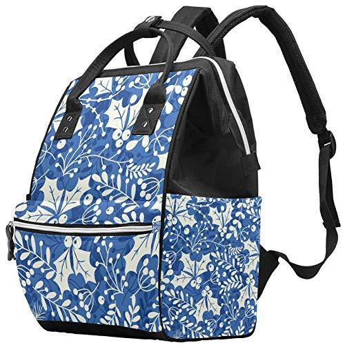 Borsa per pannolini con foglie di agrifoglio blu, grande borsa per bambini, multifunzione, zaino da viaggio, anti-acqua