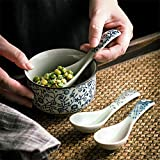 XTYMY xytmy Porzellan Suppe Löffel Blume Henkel Handbemalt Chinesische/Asiatische Reis Löffel für Appetizer Tableware-Set 5Stück. - 5