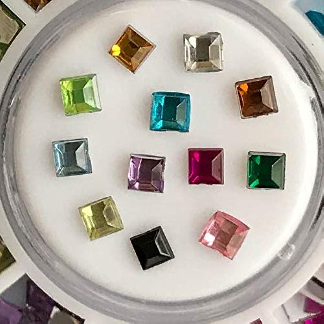 吸う口シャッフルアクリルラインストーン12色セットネイル用DIYアクセサリーハンドメイド素材パーツ (スクエア四角形)