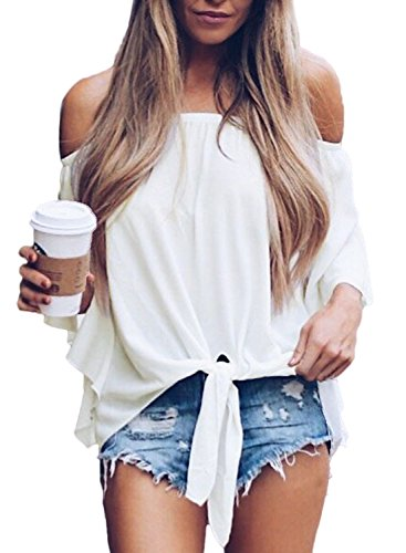 Sexy solid off the shoulder tops,you will never out of style for this classic pattern,a perfect gift for your friends,roomate and yourself. Solid off the shoulder blouses with self tie knot front,meet your fashion taste! Casual loose fit summer off t...