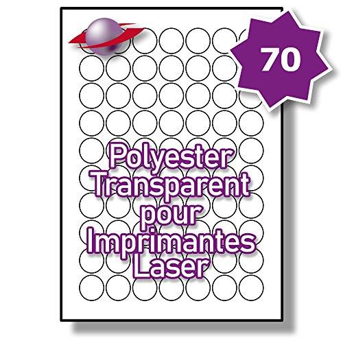 70 Par Feuille, 250 Feuilles, 17500 Étiquettes. Label Planet® Étiquettes Rondes en Polyester Transparent A4 pour Imprimantes Laser 25mm Diamètre , LP70/25 R GTP.